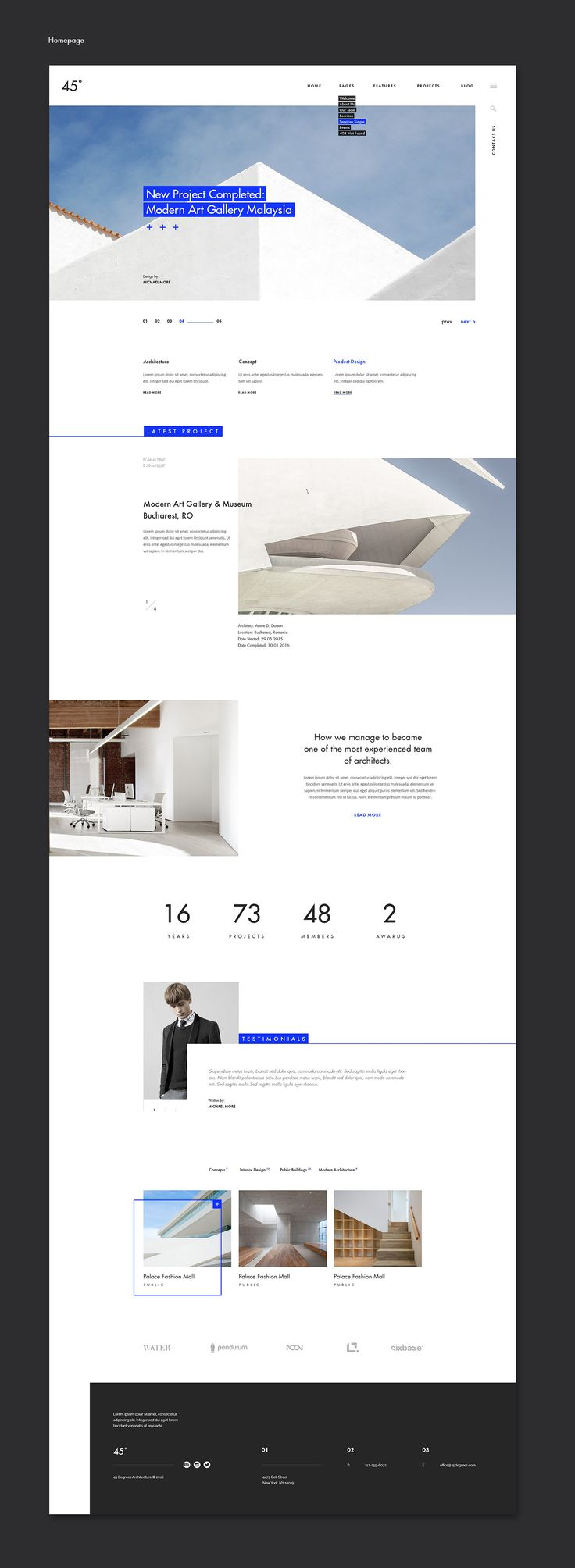 45 degrees - Architecture Studio PSD | themeforest.net on Behance