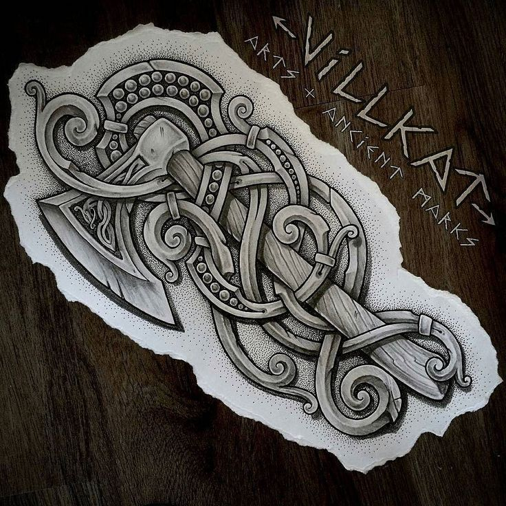 This is so nice how it incorporates an axe into the traditional styling of Norse patterns. Replaces the usual dragon theme nicely