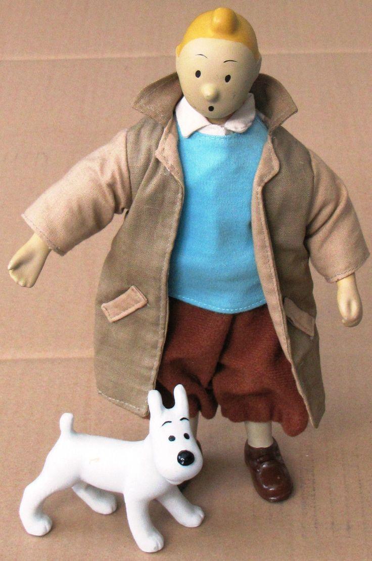 "90's Hergé Tintin Milou 10"" Porcelaine Poupée Figure 25 cm Kuifje Tim Stuppi | eBay"
