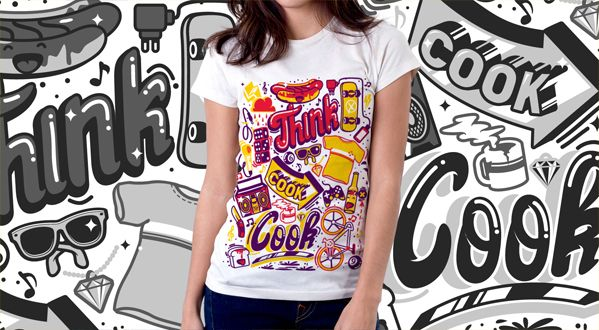 T-shirt design for Thinkcookcook.com #urbanart #apparel #streetwear #doodle