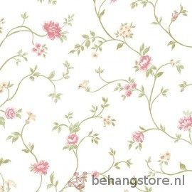 AsCr Norwall PP bloem wit roze groen - Norwall Pretty Prints behang - As Creation behang - Behang - Behangstore
