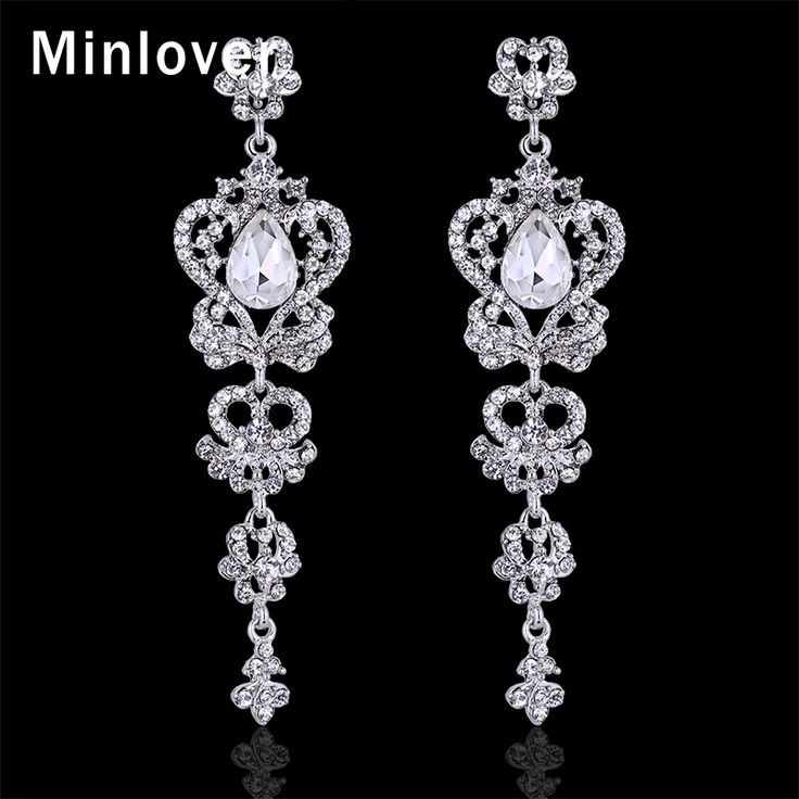 Minlover Silver&Blue Colors Austrian Crystal Platinum Plated Drop Long Earrings for Women Rhinestone Wedding Jewelry EH163