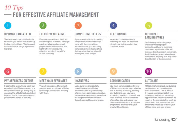 Ten tips for effective affiliate management http://connect.icrossing.co.uk/ten-tips-effective-affiliate-management_9924