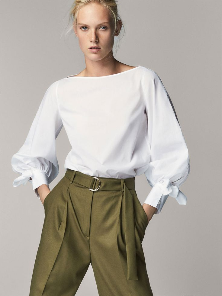 POPLIN BLOUSE WITH TIED DETAIL - Women - Massimo Dutti