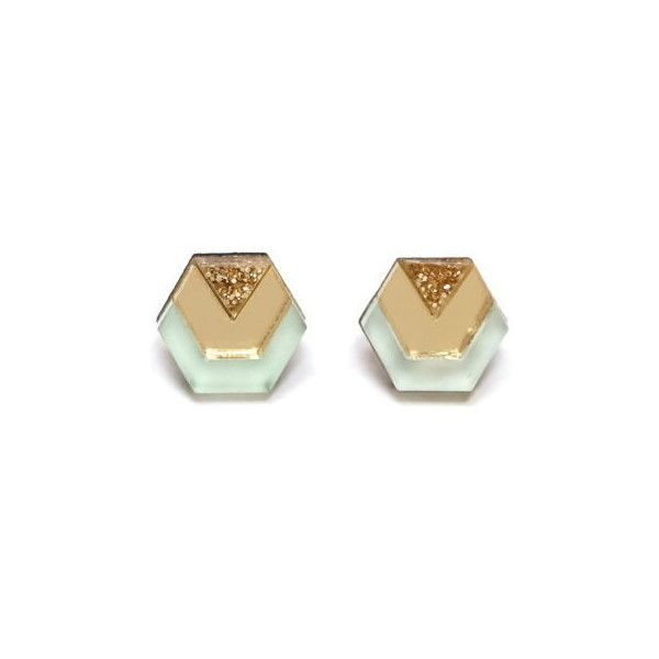 Wolf & Moon Little Hex Studs in Mint ($20) ❤ liked on Polyvore featuring jewelry, earrings, wooden jewelry, wooden earrings, mint earrings, earrings jewelry and stud earrings