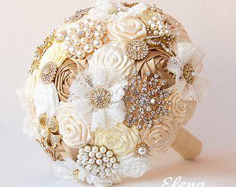 SALE Brooch bouquet gold Fabric Wedding Bouquet pione by feltdaisy