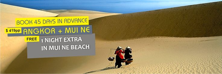 Early bird promotion: Free extra 1 night in Mui Ne beach for all bookings made 45 days before arrival : http://vietnamcheappackages.com/travelpackages/angkor-splendors-mui-ne-beach-8-days.html . This 8 day tour will be extended to 9 day including the last night free in Mui Ne beach resort.#vietnambeach #angkorwat #travelpromotion