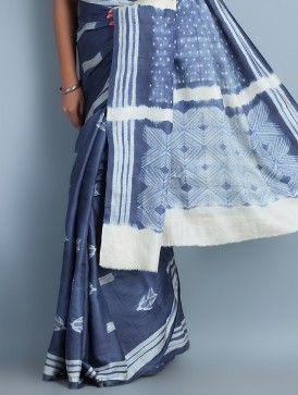 Indigo-Ecru Tussar Silk Shibori Dyed Saree