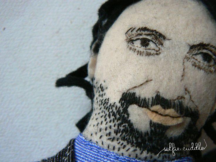 fabric handmade doll, portrait, selfie, face detail, Marian Cekovsky