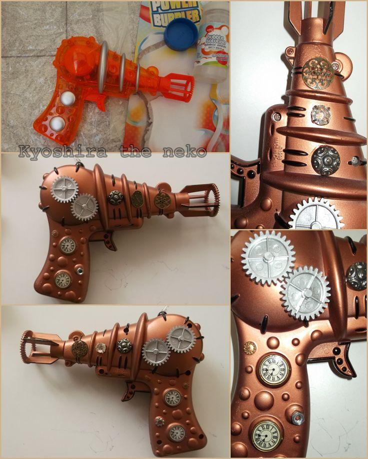 Pistola de burbujas pintada y decorada por mí, steampunk gun, pistola steampunk