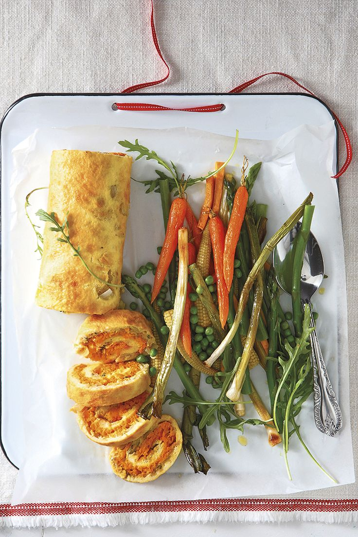 Egg roulade with sweet potato and sage filling