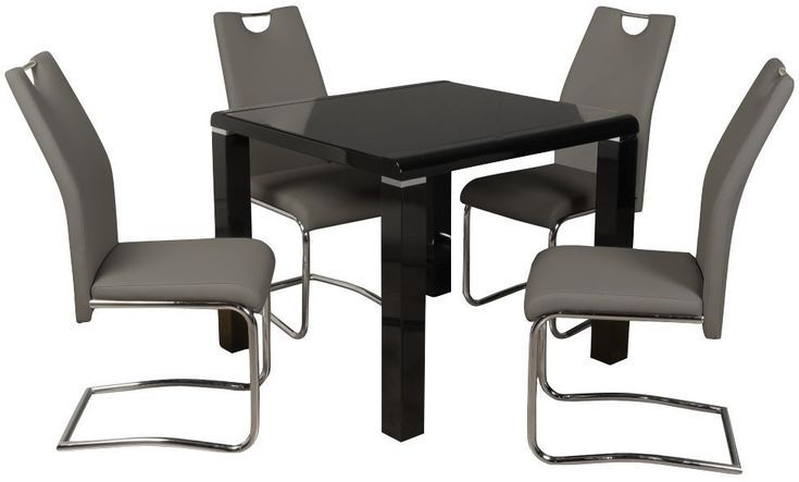 Clarus Black Square Dining Table And 4 Claren Grey Chairs Koksbord