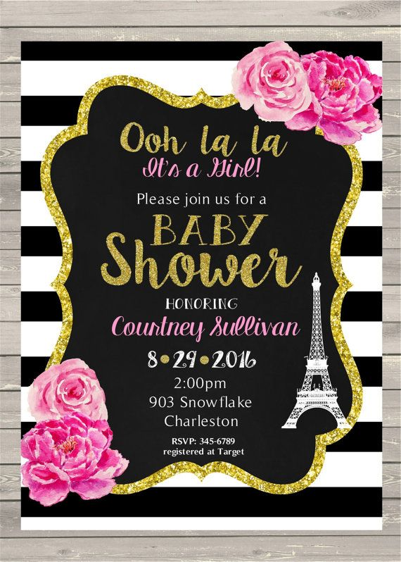 Awesome 12 Paris French Theme Baby Shower Invitations Shabby Chic Floral Invites   Black And White Pink  Ooh La La