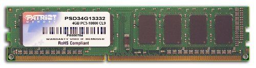 Patriot Signature 4 GB PC3-10600 (1333 MHz) DDR3 Desktop Memory PSD34G13332 by Patriot. $25.99. Patriot Memory's Signature Line DDR3 Non-ECC Unbuffered memory delivers quality, reliability and performance expected for today's computer needs. These 4GB modules are designed to run at PC3-10600 (1333MHz) at CAS 9 latency timings. Built using specific build-of-materials (BOMs) we ensure that every module meets and exceeds industry standards: offering you a hassle-free upgrade....