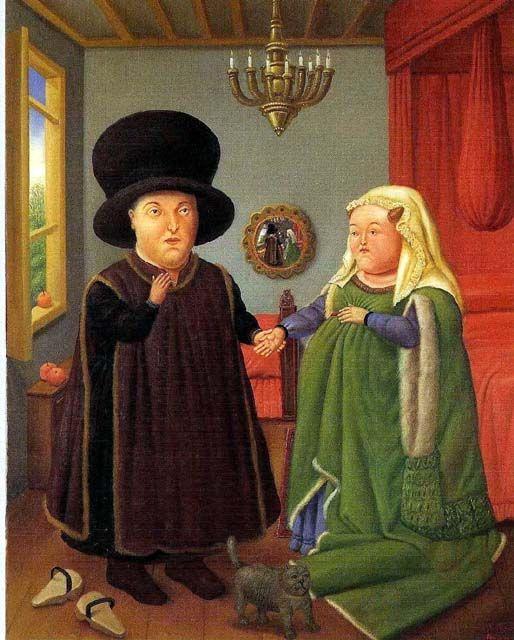 Fernando Botero, Les Epoux Arnolfini (d'apres Van Eyck) 1978 huile sur toile
