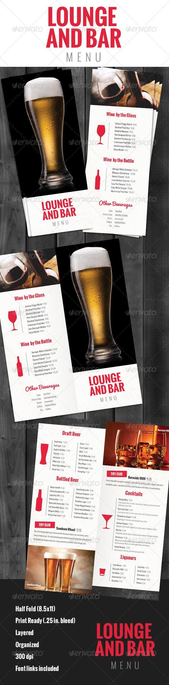 Best Food Menu Template Images On Pinterest Food Menu Template - Bar drink menu template free