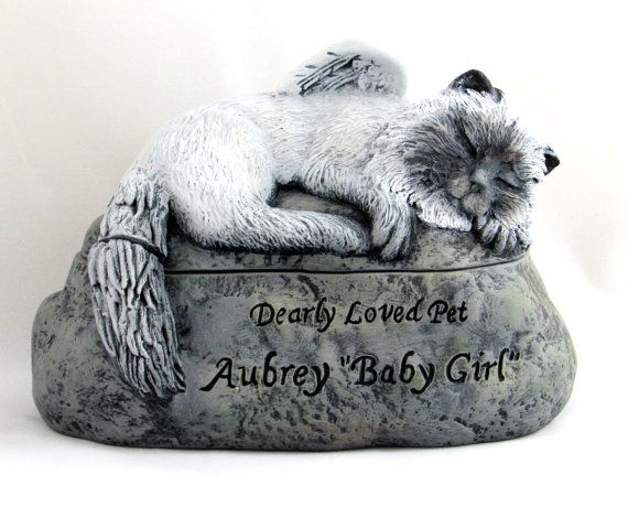 Ceramic Engraved Painted long haired Cat Cremation Urn - hand made pet urn