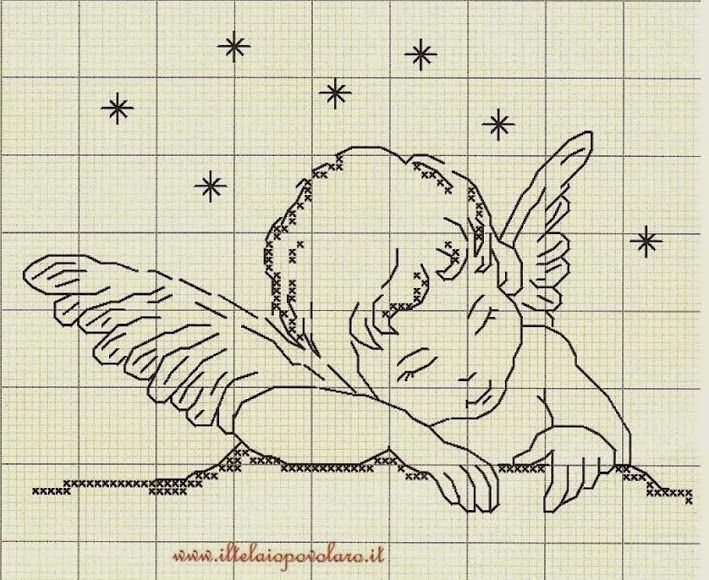 schema punto croce angelo con preghiera | Hobby lavori femminili - ricamo…