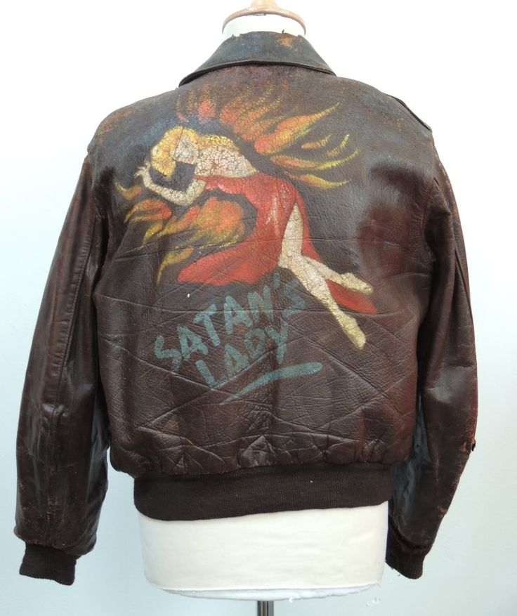 WW2 8th USAAF A2 Jacket PAINTED ORIGINAL,'SATANS LADY'+ Dogtags & Frame.306 BG. - militarytrader.co.uk