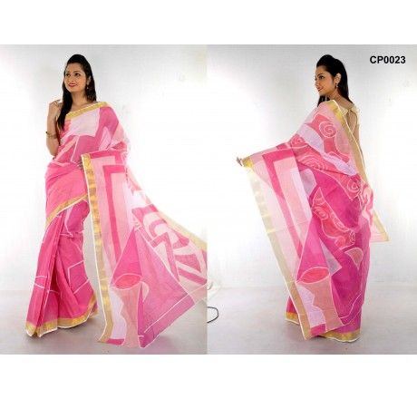 Pink hand painted saree on kerala cotton. - Hand Painted Sarees - Sarees - Saree,Blouse & more
