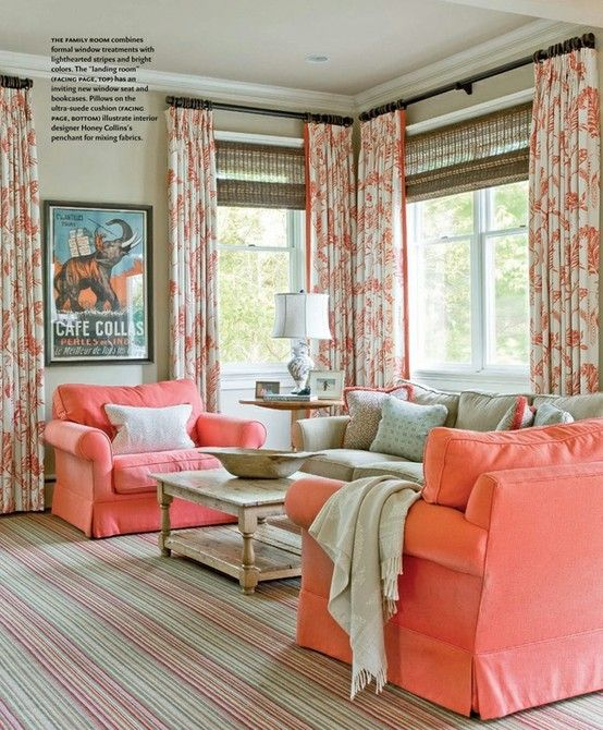 Coral: Curtains, Living Rooms, Bamboo Shades, Coral Chairs, Colors Palettes, Colors Schemes, Window Treatments, House, Families Rooms