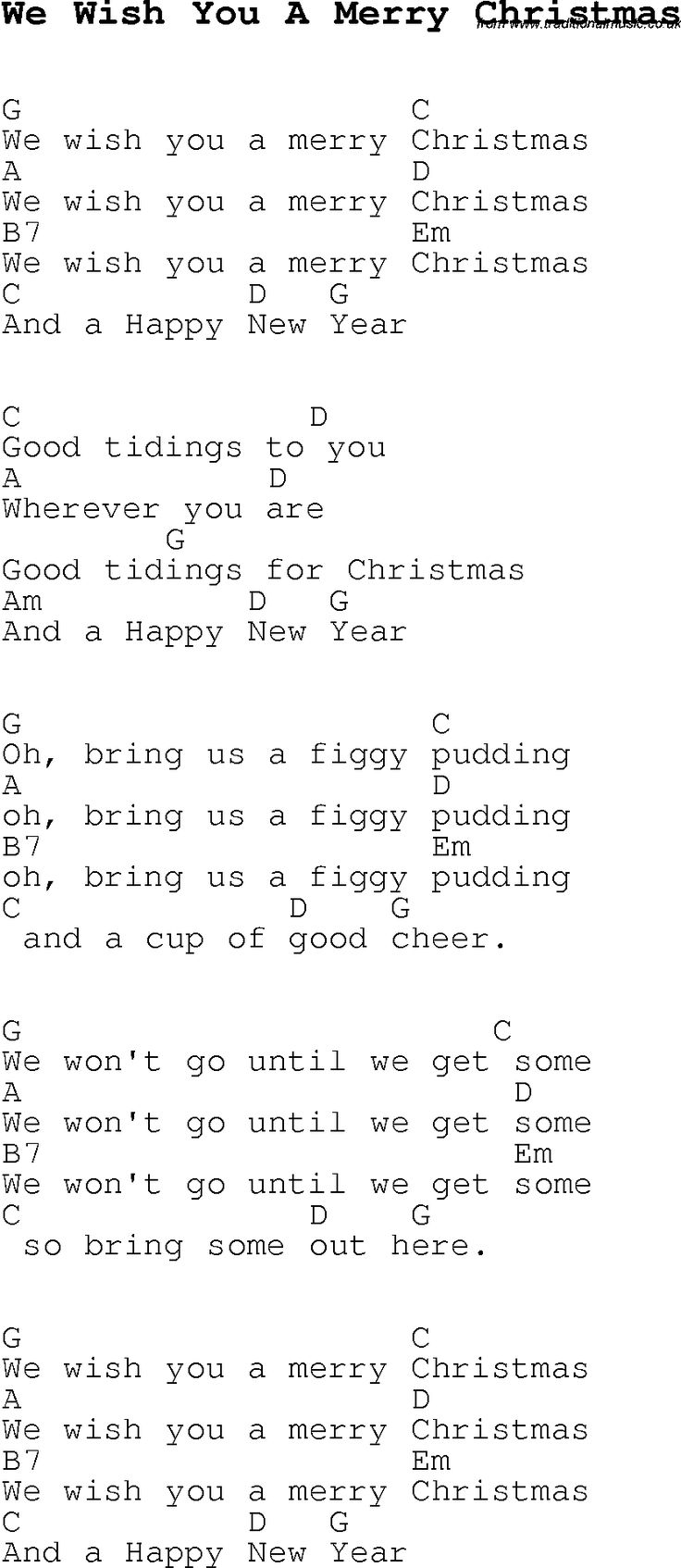 Christmas Songs and Carols, lyrics with chords for guitar banjo for We Wish You A Merry Christmas