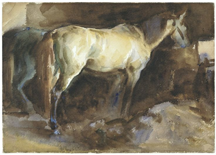 John Singer Sargent, The Favorite Horse, 1910-15. Watercolor on paper. 9 3/4 x 13 5/8 in. The Healy Fund. 1927.613