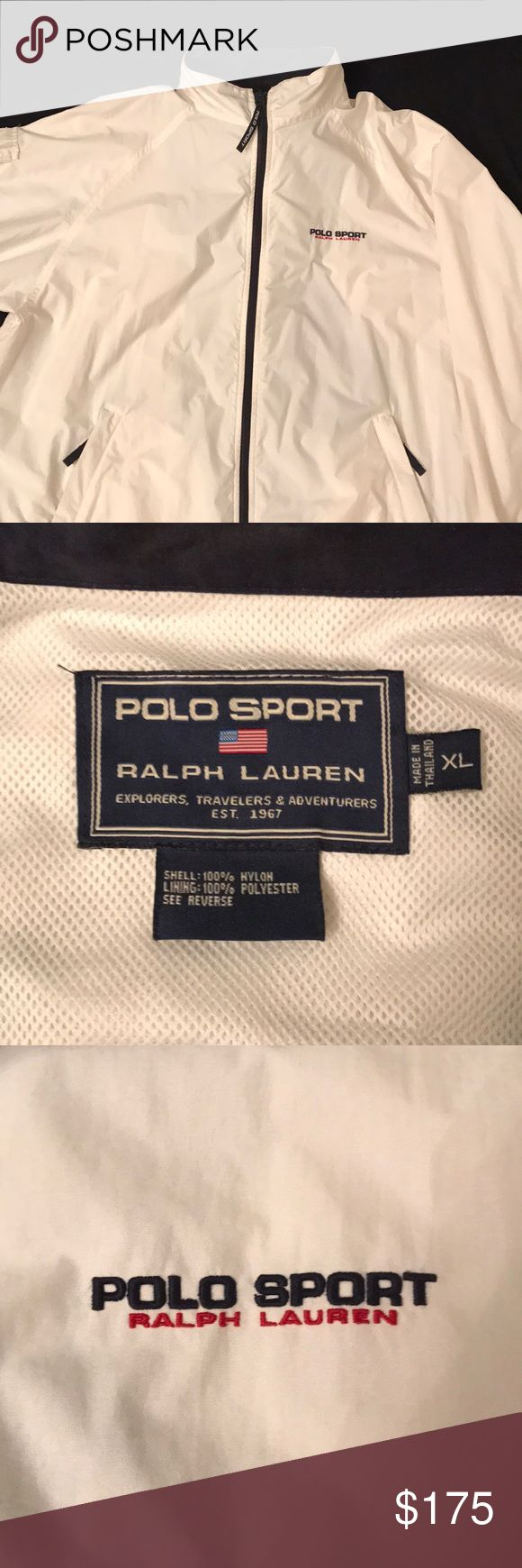 Polo Sport jacket Vintage white and navy blue Polo Sport jacket. Men's XL. EUC. Shell of jacket 100% nylon and lining 100% polyester. Polo by Ralph Lauren Jackets & Coats