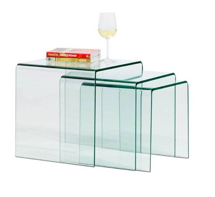Nest of tables , 3 pcs , clear glass
