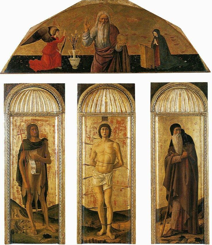 Trittici della carità.  Trittico  di San Sebastiano.  Sono opera di Jacopo,  Gentile e Giovanni.  1472. Il timpano  curvilineo è un ricordo donatelliano