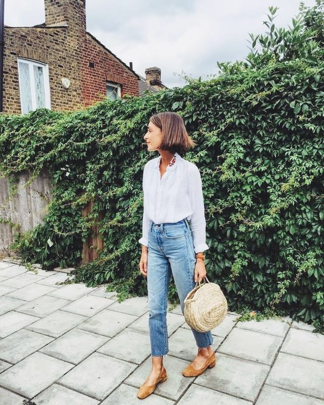 straw bag and jeans