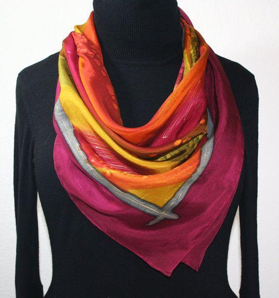 Seta sciarpa Borgogna Orange scialle di di SilkScarvesColorado