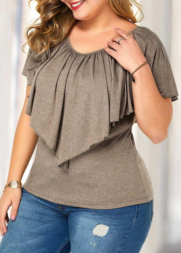 Plus Size Short Sleeve Overlay Blouse | Rotita.com - USD $26.36 17