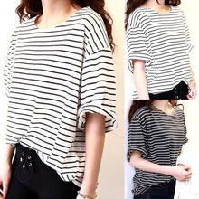 New 2015 summer mm all-match basic shirt female top young girl stripe loose half sleeve HARAJUKU t-shirts  Factory Wholesale(China (Mainland))