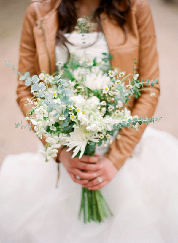 Leather Jacket over a Wedding Dress | Cassidy Brooke Photography | See More! http://heyweddinglady.com/natural-earthy-wedding-inspiration-in-terra-cotta-gold-green/