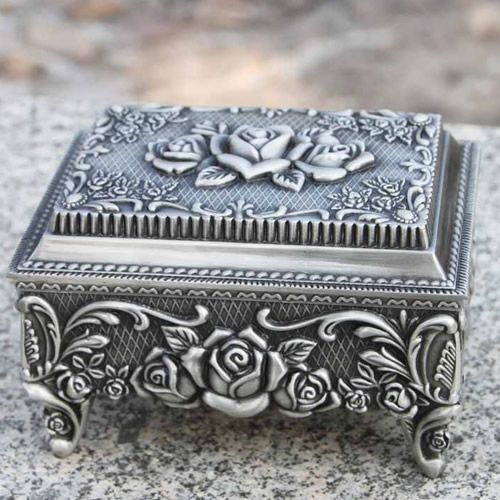 Antique Brides Box | Women Antique Silver Tin Rosette Wedding Bridal Jewelry Keepsake Box