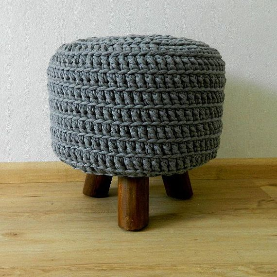 Stool foot stool crochet pouf grey off white blue Hooked NEW on Etsy, $98.06