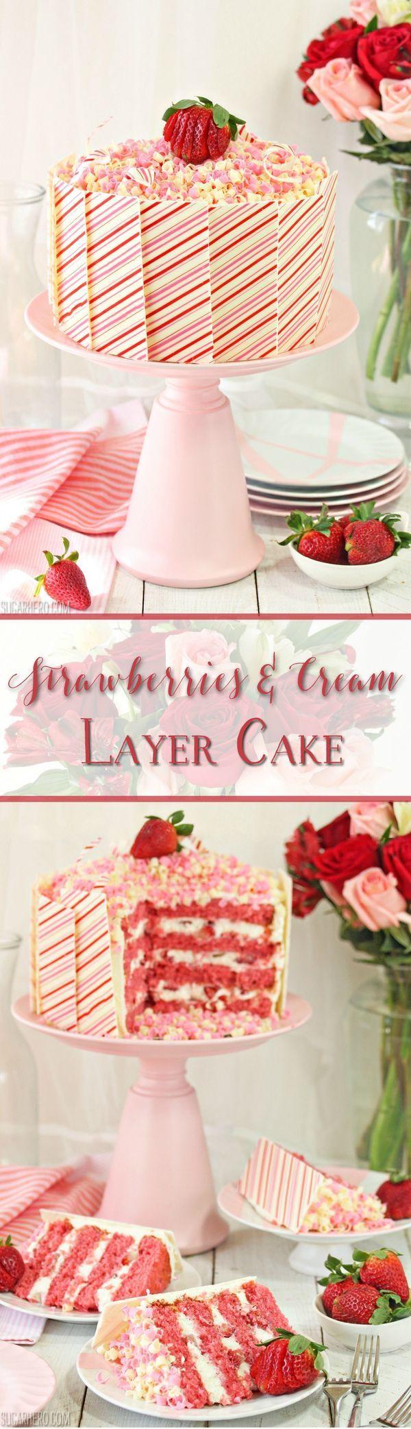 Strawberries and Cream Layer Cake Recipe - moist strawberry cake, vanilla bean whipped cream, and lots of fresh strawberries! | From SugarHero.com