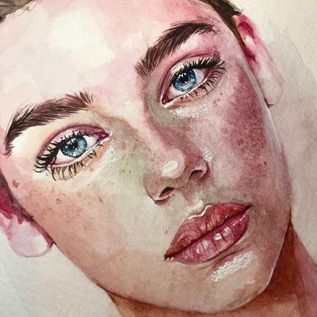 Visage A L Aquarelle Portrait Au Crayon Comment