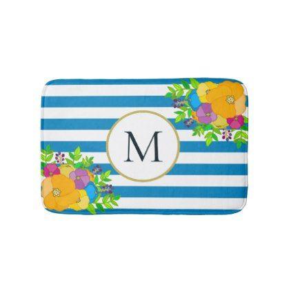 Tropical Blue White Striped Botanical Monogram Bath Mat - monogram gifts unique custom diy personalize