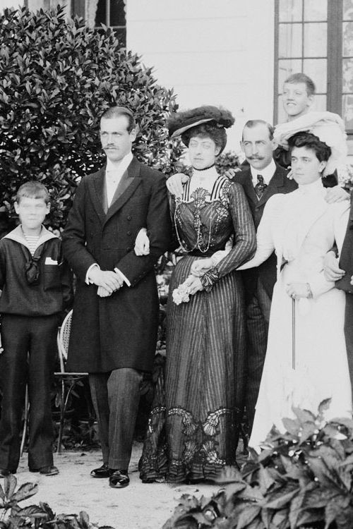 Grand Duke Michael Alexadrovich with family Prince and Princess Nicholas of Greece {Grand Duchess Elena Vladimirovna} Princess Victoria of Wales, Prince Erik of Denmark and Prince Axel of Denmark, 1903/4.