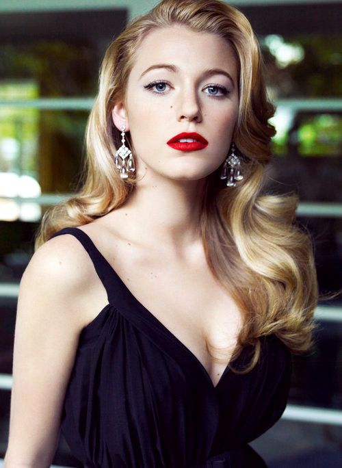 retro hair, Veronica Lake inspired, hair styles, curls, waves. Red lips. Flawless complexion. Blake Lively