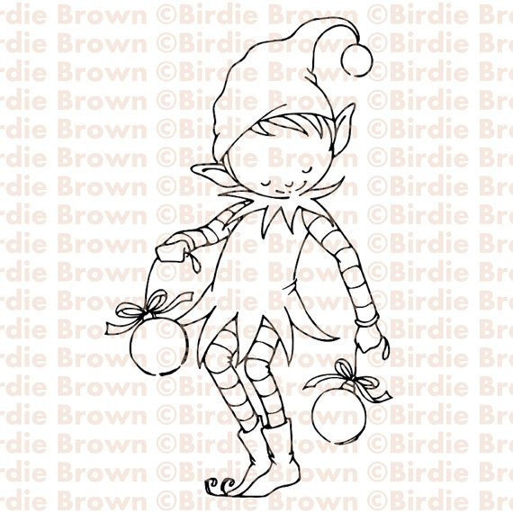 Digital stamp -- Christmas Elf by Torico- BirdieBrown Etsy shop