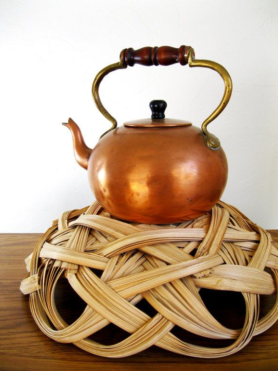 vintage midcentury copper tea kettle 1950s/  I remember growing up with a kettle  like this