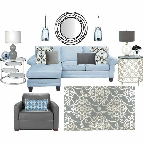 Light Blue And Grey Living Room