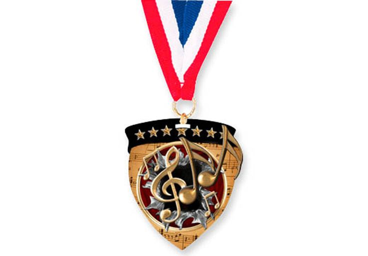 """MUSIC MEDALLION - 3"""" with 30"""" neck ribbon."""