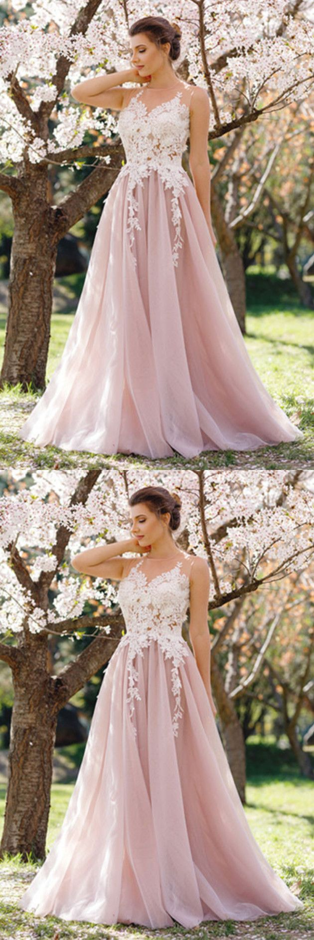 Elegant A-Line Jewel Blush Tulle Long Prom Dresses with Lace,Charming Formal Dresses
