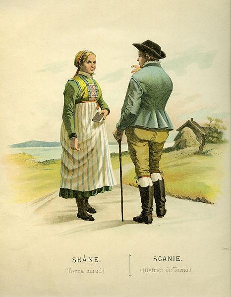 Folkdräkt från Torna härad, Skåne, Sverige. Date 1895 Source Thulstrup & Kramer, Afbildningar af Nordiska Drägter (1895)