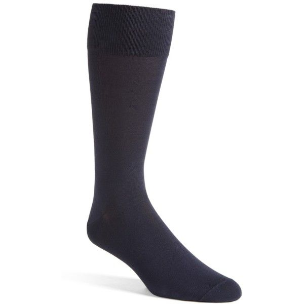 Men's Big & Tall John W. Nordstrom Solid Over The Calf Socks ($13) ❤ liked on Polyvore featuring men's fashion, men's clothing, men's socks, navy, mens navy blue socks, mens navy socks and mens socks