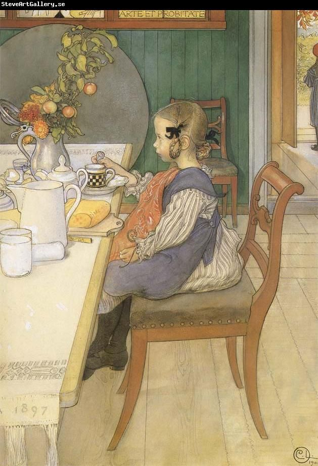 A Late Riser S Miserable Breakfast Carl Larsson Wholesale China Oil Painting Frame